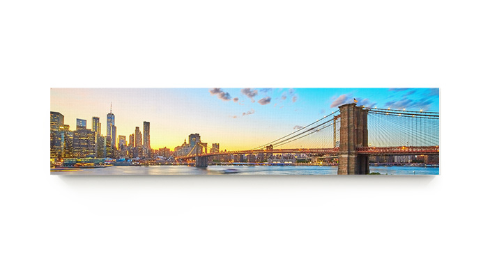 A frontal view of a panoramic canvas print.