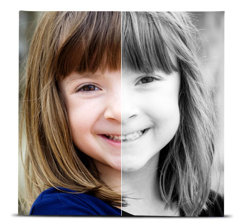 Photo of a young girl showing the difference between the original image, and the image with the Black and White effect applied.