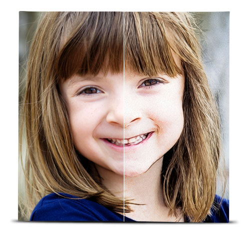 Photo of a young girl showing the difference between the original image, and the image with the Color Sketch effect applied.