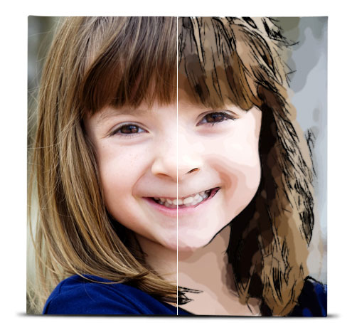 Photo of a young girl showing the difference between the original image, and the image with the Comic Book effect applied.