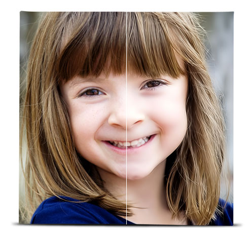 Photo of a young girl showing the difference between the original image, and the image with the Digital Smooth effect applied.