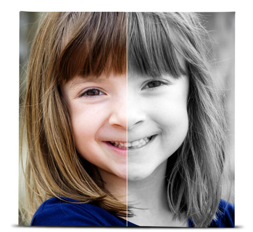 Photo of a young girl showing the difference between the original image, and the image with the Isolate effect applied.