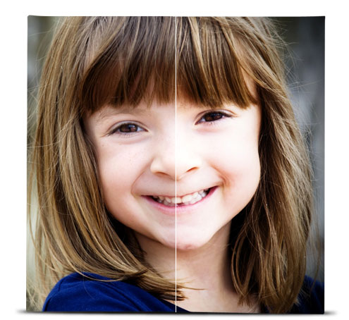 Photo of a young girl showing the difference between the original image, and the image with the Lomo effect applied.