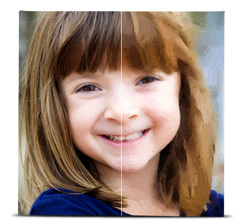 Photo of a young girl showing the difference between the original image, and the image with the Oil Painting effect applied.