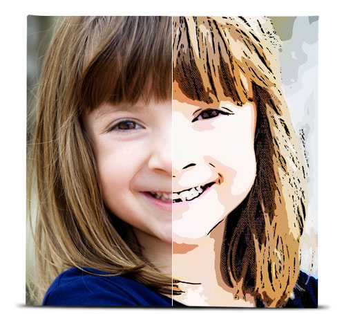 Photo of a young girl showing the difference between the original image, and the image with the Pop Art effect applied.