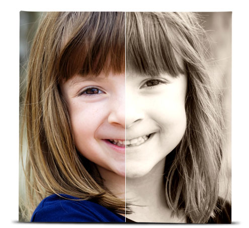 Photo of a young girl showing the difference between the original image, and the image with the Sepia effect applied.