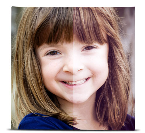 Photo of a young girl showing the difference between the original image, and the image with the Vintage effect applied.